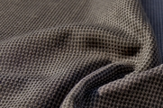 "1/16"" Small Check Black Taupe Textured Wool Fabric WL-30"