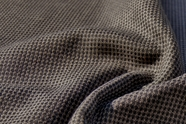 """1/16"""" Small Check Black Taupe Textured Wool Fabric WL-30"""