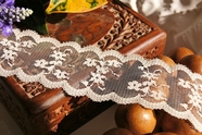 "2 1/4"" Beige Floral Scalloped Lace Trim #lace-84"