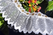 "2-1/8"" Pure White Gold Silver Metallic Ruffled Lace Trim"