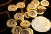 "2 Hole Metallic Gold Rim Vintage Fashion Buttons 1/2"" inch (15 pcs)"