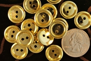 "2 Hole Plastic Gold Buttons 5/8"" inch (15 pcs)"