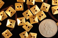 "2 Hole Square Vintage Gold Buttons 7/16"" inch (15 pcs)"