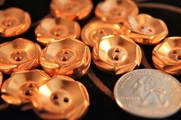 "2 Hole Vintage Copper Look Fashion Buttons 3/4"" inch (12 pcs)"