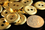"2 Hole Vintage Gold Buttons � 7/8"" inch (10 pcs)"