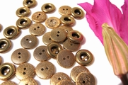 "2 Hole Vintage Matte Gold Metal Buttons 5/8"" inch (10 pcs)"