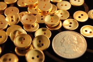 "2 Hole Vintage Metallic Gold Shirt Buttons 1/2"" inch (15 pcs)"