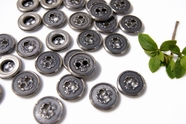 "2 Hole Vintage Silver Embossed Metal Buttons 5/8"" inch (12 pcs)"