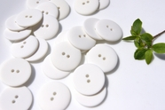 """2 Hole White Buttons 1"""" inch (10 pcs)"""
