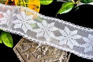 "2"" Iridescent White Snowflake Vintage Wire Edged Lace Trim"