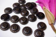 "4 Hole Vintage Fashion Black Buttons 3/4"" inch (10 pcs)"