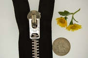 "7-1/2"" Heavy Metal Black Zipper"