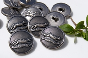 "Animal Embossed Metal Vintage Buttons 1"" inch (8 pcs)"
