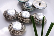 "Antique Silver Discolored Shank Glass Dome Coat Buttons 1 1/2"" inch (10 pcs)"
