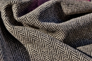 Black Beige Herringbone Wool Jacketing Fabric WL-39