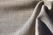 Black Beige Houndstooth Wool Glen Plaid Suiting Fabric WL-38