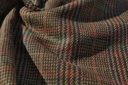 Brown Dark Green Burgundy Navy Houndstooth Plaid Wool Blend Fabric WL-383