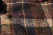 Brown Navy Tan Plaid Blend Wool Fleece Fabric WL-171