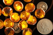 "Silver Metal Vintage Shank Orange Gem Designer Buttons 5/8"" inch (12 pcs)"