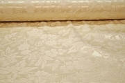 Extra Wide Shiny Cream White Floral Leaves Jacquard Fabric # K-227