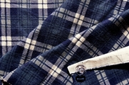 Cotton Flannel Plaid Navy Light Beige # UU-79