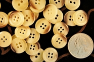 """Cream Brown 4 Hole Buttons 5/8"""" inch (15 pcs)"""