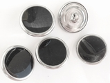 Black Centered Silver Rim Shank Metal Buttons (6 pcs)