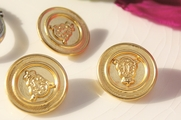 "Vintage Shank Embossed Crown Gold Metal Buttons 7/8"" inch (10 pcs)"