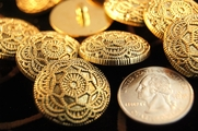 "Embossed Flower Shank Gold Vintage Buttons 1"" inch (10 pcs)"