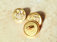 """Vintage Embossed Gold Shank Metal Buttons """"1664 Naturalization Act in American Colonies"""" Cheshire Button 5/8"""" inch (8 pcs)"""