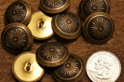 "Embossed Metal Shank Vintage Buttons ÷ 1"" inch (8 pcs)"