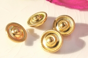 "Embossed Metal Shank Vintage Gold Buttons 5/8"" inch (10 pcs)"