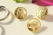 "Vintage Famous Vasco N. Balboa Gold Metal Shank Buttons 3/4"" inch (6 pcs)"