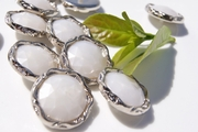 "Fashion Pearl Vintage Metallic Silver Shank Buttons 1 1/8"" inch (10 pcs)"