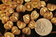 "Gold Metal Heart Shank Vintage Buttons 3/16"" inch (12 pcs)"