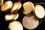 """Gold Metal Vintage Shank Buttons 7/8"""" inch (10 pcs)"""