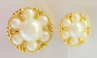 Gold Metallic Flowery Pearl Shaped Shank Buttons (6 pcs)
