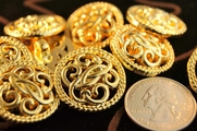 "Gold Shank Vintage Fashion Buttons 1"" inch (10 pcs)"