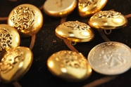 "Gold Vintage Embossed Metal Blazer Buttons 7/8"" inch (8 pcs)"