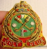 Golf Club Vintage Embroidered Wire Bullion Crest Patches