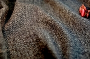 Italian Gray Black Herringbone Wool Jacketing Fabric 9 yards