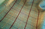 Italian Novelty Wool Herringbone Fabric in Turquoise Brown 14 yards