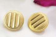 "Light Metallic Gold Shank Vintage Buttons 7/8"" inch (12 pcs)"