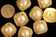 """Metallic Gold Shank Pearl Vintage Buttons 1"""" inch (12 pcs)"""