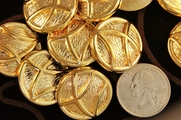 "Metallic Gold Vintage Fashion Buttons 1"" inch (10 pcs)"