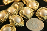 "Metallic Gold Vintage Fashion Pearl Buttons 7/8"" inch (12 pcs)"