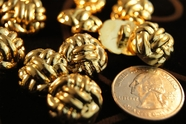 "Metallic Gold Vintage Shank Fashion Buttons 11/16"" inch (12 pcs)"