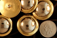 "Metallic Gold Vintage Shank Silver Dome Buttons 1 1/4"" inch (10 pcs)"