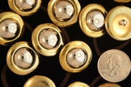 """Metallic Gold Vintage Shank Silver Dome Buttons 1"""" inch (12 pcs)"""