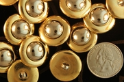 "Metallic Gold Vintage Shank Silver Dome Buttons 7/8"" inch (10 pcs)"